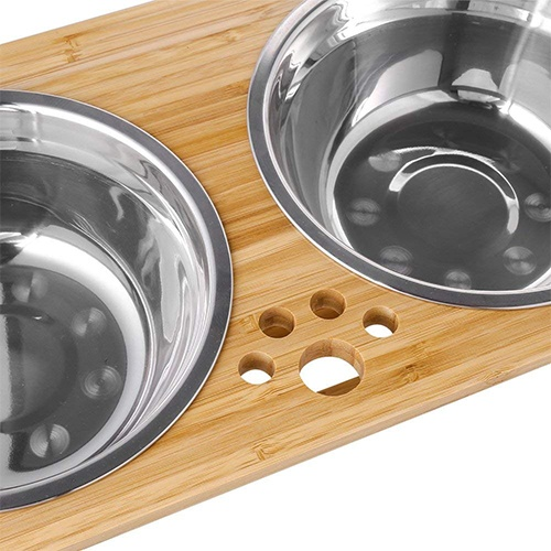 FOREYY Raised Pet bowls for Cats and Small Dogs, Bamboo Elevated Dog Cat Food and Water Bowls Stand Feeder with 2 Stainless Steel Bowls and Anti Slip Feet (4'' Tall, Large bowl)