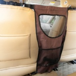 FOREYY Vehicle Pet Barrier with Mesh Openings, Storage Compartments and Durable Material-Brown